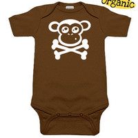 Monkey Crossbones Organic Brown One Piece