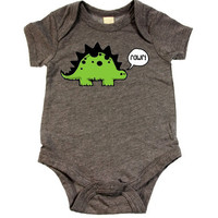 Rawr Dinosaur Heather Gray One Piece