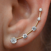 CZ Deluxe Ear Pin with  Five Cubic Zirconias - Sterling Silver or 14K Gold Filled -  PAIR