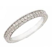 10K White Gold Diamond Wedding Anniversary Band Ring Antique Style 0.19ct in Pave Setting (I Clarit