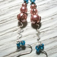 Bronze Twisted Pink Glass Pearl Zigzag Dangles by VenganzyJewelry