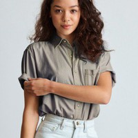 Unisex Denim Short Sleeve Button-Up Shirt | American Apparel