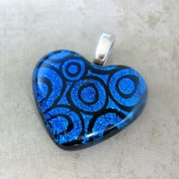 Rolling Romance - Dichroic Heart Pendant Blue by mysassyglass