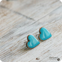 Post earrings -Turquoise Blue Hearts