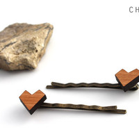 Valentine's Day Etsy Heart Hair Pin Set - Laser Cut Wooden Small Geometric Heart Bobby Pin Set (2)