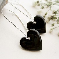 Love Heart Black Earrings