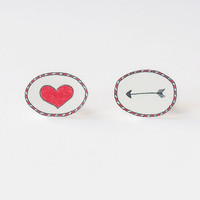 Arrow to the Heart Stud Earrings - Made To Order
