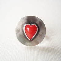Red Heart Ring. Red Glass Heart in Sterling Silver Ring. Modern Jewelry