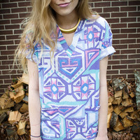 Vintage Tribal Pocket V-Neck Oversized Blouse