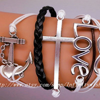 Cross Anchor Love and Infinity Charm by Infinitywishes on Etsy