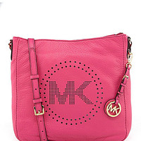 MICHAEL Michael Kors Perforated Leather Messenger Bag | Dillards.com