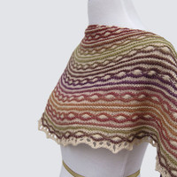 Multicolor Stripe Shawl, Women, Half circle  Scarf, Natural, Gift, Wool, FREE SHIPPING, Hand knit, Original Design,  Stripes, Textured