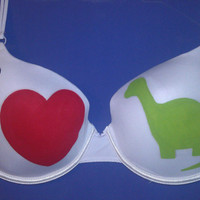 Handpainted i love dinosaurs Bra by SceeneShoes on Etsy