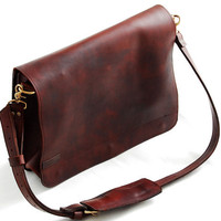 Unisex leather messenger bag, 16 inch leather laptop bag, cross body bag - Whisky Flavor