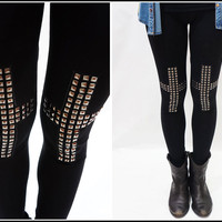 Sandysshop — Studded Cross Leggings