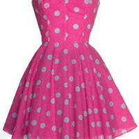Style Icon's Closet 50s style Vintage Inspired Pin-Up African Print Retro Rockabilly Clothing — Pin-up Pink Polka Dot Prom Dress