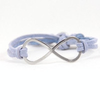 Infinity - Light Blue Suede and Silver Rhinestone