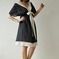 Butter Fly II Black and white Cotton Dress by aftershowershop