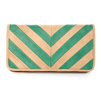 Duo Date Beige and Mint Striped Clutch