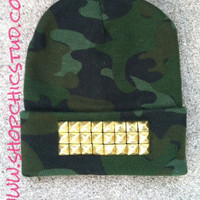 Studded Beanie Hat Camo Print Gold OR Silver OR Black Studs