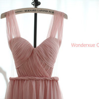 Blush Pink Chiffon Wedding Dress Bridesmaid Dress by wonderxue
