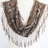 Brown Stylish Fringed Cotton Scarf, Gift,