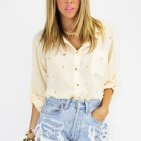 ALL OVER SKULL BLOUSE - Cream