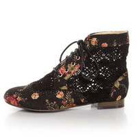 Privileged Liz Black Floral Fabric &amp; Crocheted Spectator Booties