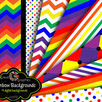 Rainbow Paper, Rainbow Party Paper, Digital Paper, Rainbow Digital Paper, Rainbow Printable, Instant Download