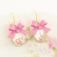 Pink Bow Rhinestone Earrings - Vintage Clear Glass Rhinestone and Pink Bow Dangle Earrings - Wedding, Bridal, Bridesmaid, Preppy