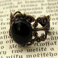 Filigree Ring - Black Onyx Stone in Brass 12x10mm - $17.50 : RagTraderVintage.com, Handmade Indie Retro Accessories