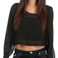 Chiffon Cropped Blouse - Black