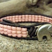 GOOD Luck Pink Leather Wrap Bracelet, Friendship Bracelet, Southwestern Boho Gypsy Chic
