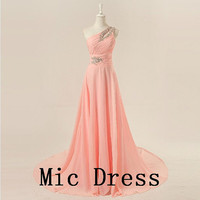 Oneshoulder sleeveless floorlength chiffon beading by MicDress