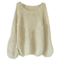 Batwing Puff Sleeve Light-apricot Jumpers [NCSWQ0148] - &amp;#36;26.99 :