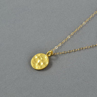 Hammered Disc Necklace, Gold Vermeil Round Charm, 14K gold Filled Chain, Simple, Cute, Pretty Necklace