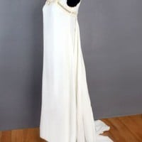 1960's White Linen Long Wedding Dress w/ Train - M VINTAGE WEDDING DRESSES 60's BRIDAL WEAR Gowns :
