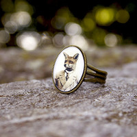 Mr Fox Ring Wearable Art  Antique Bronze by ThisYearsGirl on Etsy