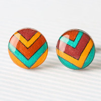 Chevron Post Earrings in Mustard Berry and Aqua by aRainyAfternoon