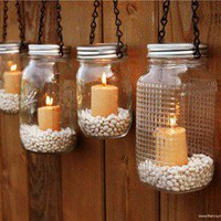 The Country Barrel  Set of 4 Mason Jar Luminaries - Black Chain
