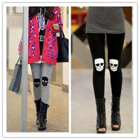 Women Fashion Skull Knee Pants Leggings Lady Stretch Cotton Tights Slim Trousers