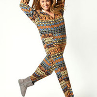 Nina Brushed Knit Aztec Print Hooded Onesuit