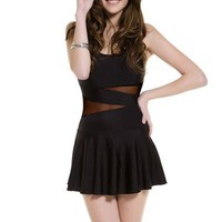 OASAP - Contrast Mesh Panel Backless Swimsuit Dress - Street Fashion Store