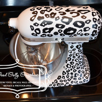 Kitchen mixer vinyl decal LEOPARD PRINT decal by GoodGollyGraphics