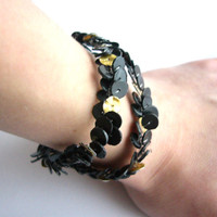 Recycled bottle bracelet black and gold upcycled by dekoprojects