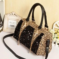 Fashion Leopard Shiny Handbag Shoulder Bag