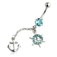 Anchor Belly Ring Long Sexy Dangle with CZ Stones 14G Belly Piercing 1.6mm Belly Button Navel with
