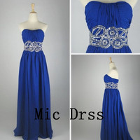 High Quality/Custom made /Strapless/Sequins beading/Pleated/chiffon/Longprom/Evening/Party/Homecoming/cocktail /Bridesmaid/Formal Dress