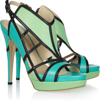 Burak Uyan Color-block cutout leather sandals – 59% at THE OUTNET.COM
