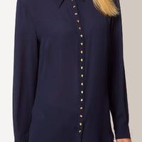 Navy Long Sleeve Metal Buttons Blouse S009915